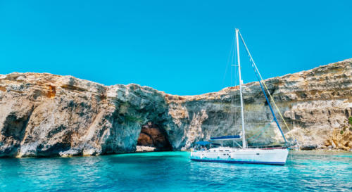 Sailing yacht in the Crystal lagoon, Comino - Malta